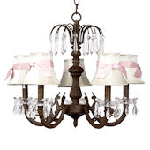 5 Arm Waterfall Chandelier White Shade Pink Bow