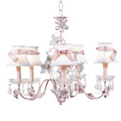 5 Arm Crystal Chandelier  White Shade Pink Sash