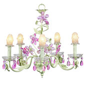 5 Arm Green and Pink Crystal Chandelier Clear Bulb