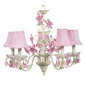 5 Arm Green and Pink Crystal Chandelier Pink Shade