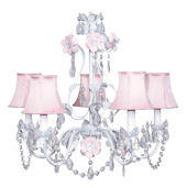 5 Arm Flower Garden Chandelier with Pink Shade