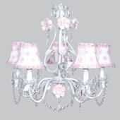 5 Arm Flower Garden Chandelier  Pink Flower Shade