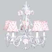 5 Arm Flower Garden Chandelier  Pink Pearl Shade