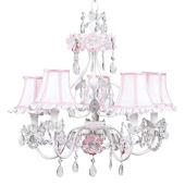 5 Arm Flower Garden Chandelier  Pink Shade
