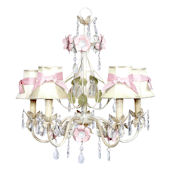 5 Arm Flower Garden Chandelier Ivory Shade Pink
