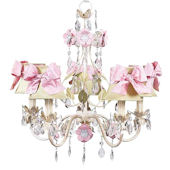 5 Arm Flower Garden Chandelier Sage Shade Pink
