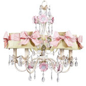 5 Arm Flower Garden Chandelier Pink Check Sash