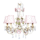 5 Arm Flower Garden Chandelier Pink Pearl Dot