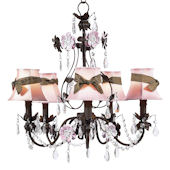 5 Arm Mocha Flower Garden Chandelier Pink Shade