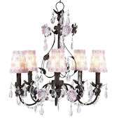 5 Arm Mocha Flower Garden Chandelier with Flowers