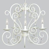 5 Arm White Carriage Chandelier