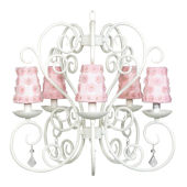 5 Arm Carriage Chandelier Pink Flower Shade