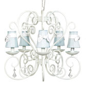 5 Arm Carriage Chandelier Blue Shade White Sash