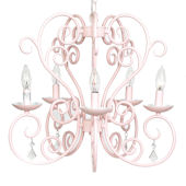 5 Arm Pink Carriage Chandelier