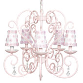 5 Arm Pink Carriage Chandelier Pink Flower Shade