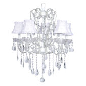 5 Arm White Carousel Chandelier White Flower Shade