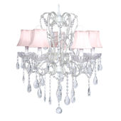 5 Arm White Carousel Chandelier Pink Shade