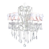 5 Arm White Carousel Chandelier Pink Shade White
