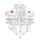 5 Arm Carousel Chandelier Pink Shade Pink Rose