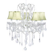 5 Arm Carousel Chandelier Green Shade