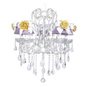5 Arm Whimsical Beaded Lavender Yellow Chandelier