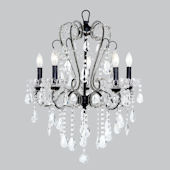 5 Arm Black Whimsical Chandelier