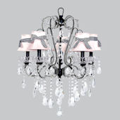 5 Arm Carousel Chandelier Pink Shade Black Check