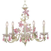 5 Arm Pink and Green Crystal Flower Chandelier