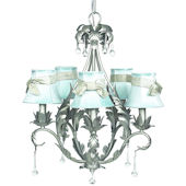 5 Arm Caesar Chandelier with Blue Shade with Sash