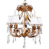 5 Arm Gold Ballroom Chandelier with Ivory Shade