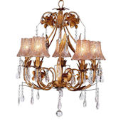 5 Arm Gold Ballroom Chandelier with Taupe Shade