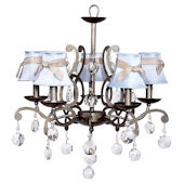 5 Arm Elegance Chandelier with Blue Shade