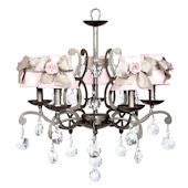 5 Arm Elegance Chandelier with Light Pink Rose
