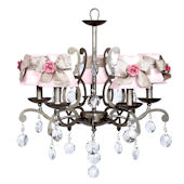 5 Arm Elegance Chandelier with Dark Pink Rose