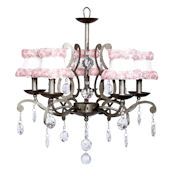5 Arm Elegance Chandelier with Pink Rose Shades