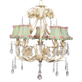 5 Arm Ballroom Chandelier Green Checked Shade