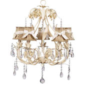 5 Arm Ballroom Chandelier Taupe Checked Shade