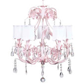5 Arm Pink Ballroom Chandelier White Shade