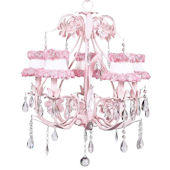 5 Arm Pink Ballroom Chandelier Ring of Roses