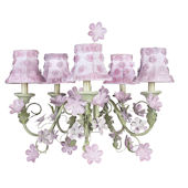 5 Arm Leaf and Flower Chandelier Pink Flower Shade