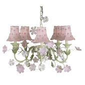 5 Arm Leaf and Flower Chandelier Pink Daisy Shade