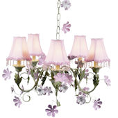 5 Arm Leaf and Flower Chandelier Pink Pearl Shade