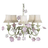 5 Arm Leaf and Flower Chandelier Flower Border