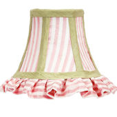 Ruffled Pink White And Green Trim Chandelier Shade