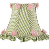 Jubilee Green Check Ruffled Edge Chandelier Shade