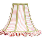 Pink And White Trim Large Bell Shape Shade
