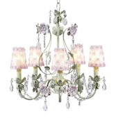 5 Arm Pink and Green Flower Chandelier Rose Shade