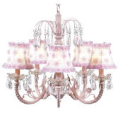 5 Arm Pink Waterfall Chandelier Rose Shade