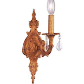 Jubilee 1 Arm Antique Gold Wall Sconce