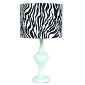 Blue Curvature Lamp with Zebra Shade